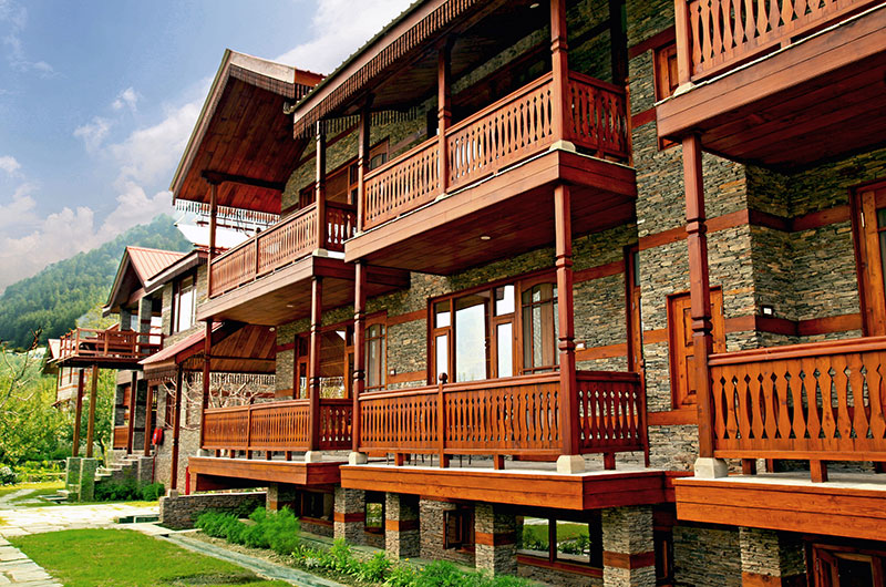 Kath khuni style of architecture at ShivAdya Resort, near Manali, Himachal Pradesh