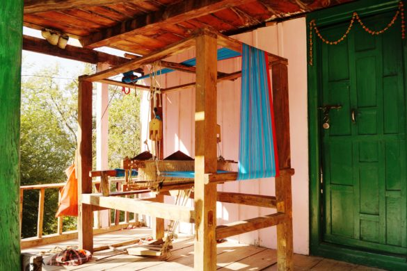 Wooden loom set up in a village home